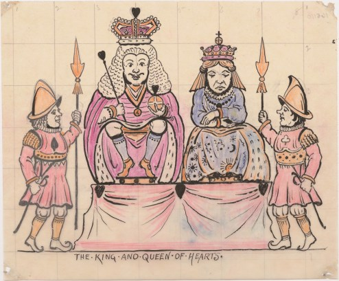 After treatment photograph of The King and Queen of Hearts drawing