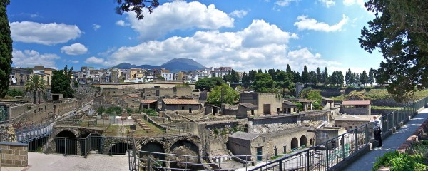 Excavation of herculaneum showing intact buildings