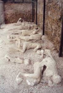 Plaster cast of residents of Pompeii