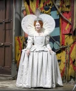 Helen Mirren in white Elizabethan gown