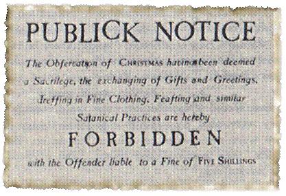 17th century notice punishing Christmas celebrants 5 shillings