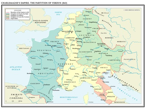 Charlemagne's Empire divided into thirds
