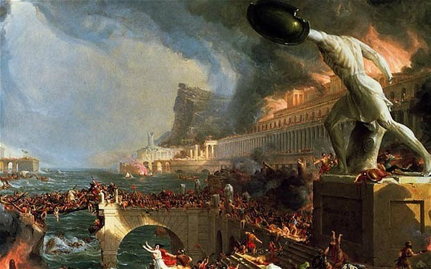 "Thomas Cole's painting ""Fall of Rome"""