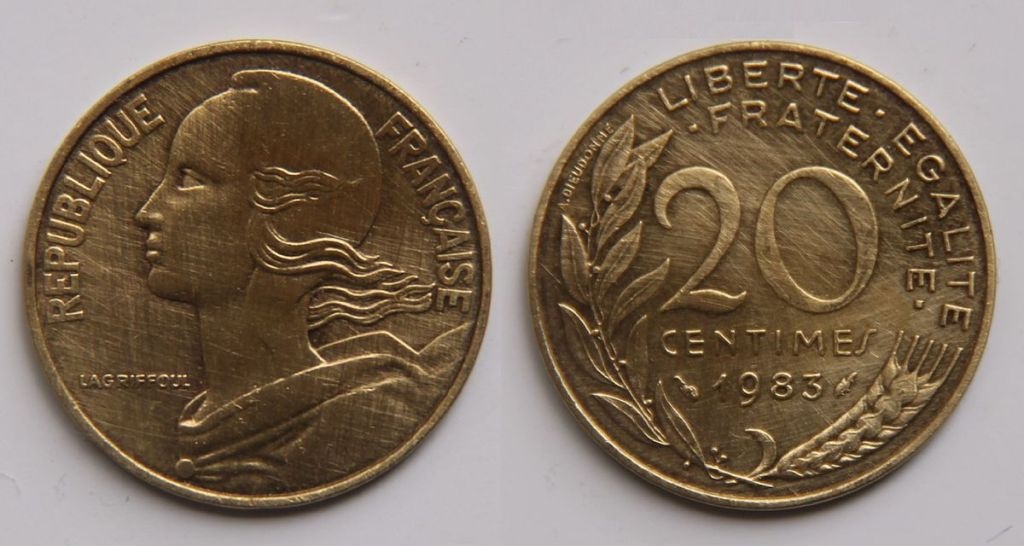 French coin with Marianne