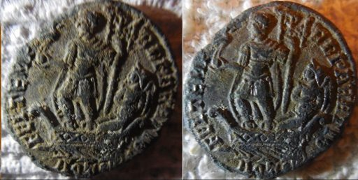 Roman coin after third and fourth washings