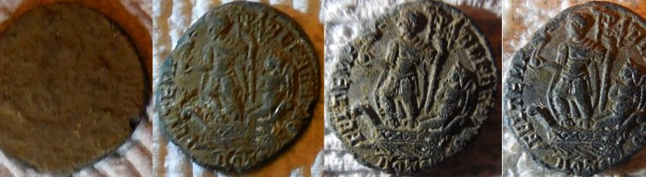 Four steps of cleaning Roman coins