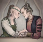 Illustration of Amari and Naran, characters from the Babylon 5 LARP