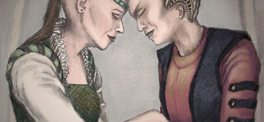 Illustration of Amari and Naran, characters from the Babylon 5 LARP