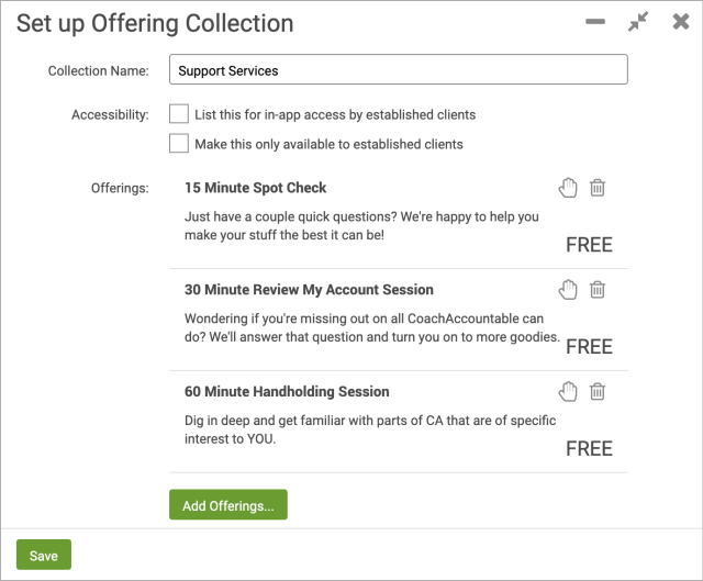 Clients can choose from multiple products with CoachAccountable Offering Collections