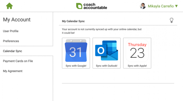 How can clients sync their calendars with CoachAccountable?