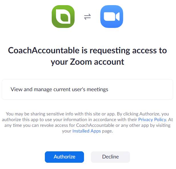 Zoom authorization