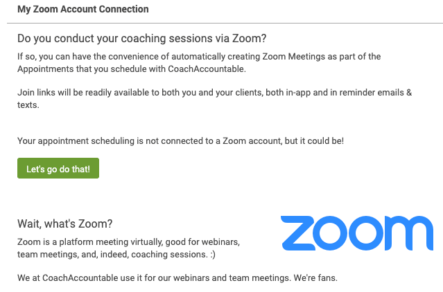 Connect CoachAccountable with Zoom