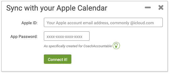 Apple iCal sync with CoachAccountable