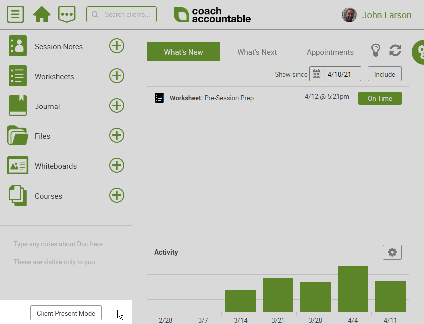 Toggle Client Present Mode