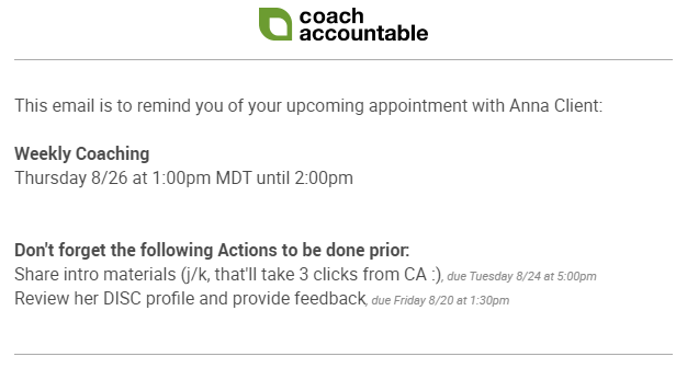 An appointment reminder email for coach containing a reminder of outstanding actions