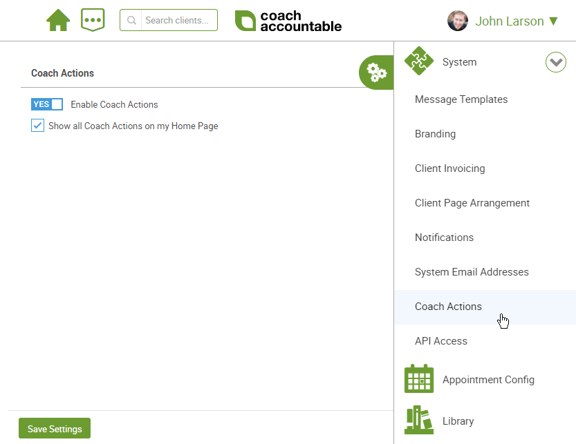 Configuration screen for coach actions