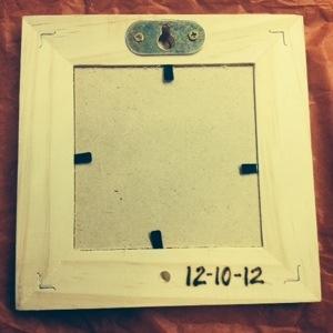 Back of Frame, engraved date 12-10-12