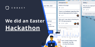 Blog cover we did an easter hackathon at Codacy