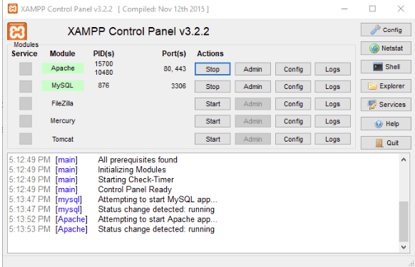 Running a Xampp Server for phpmyadmin