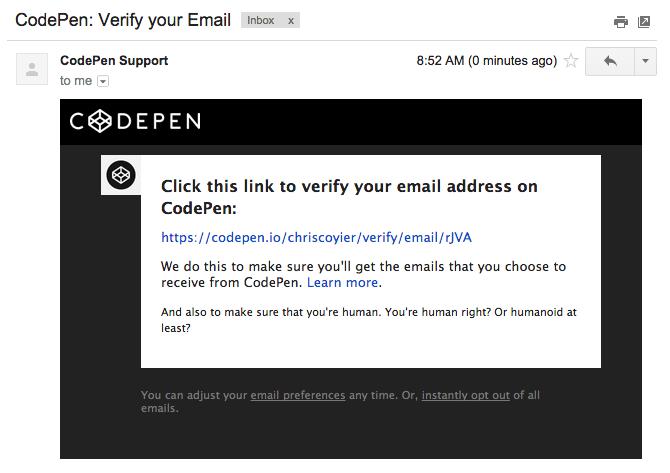 email verification codepen blog