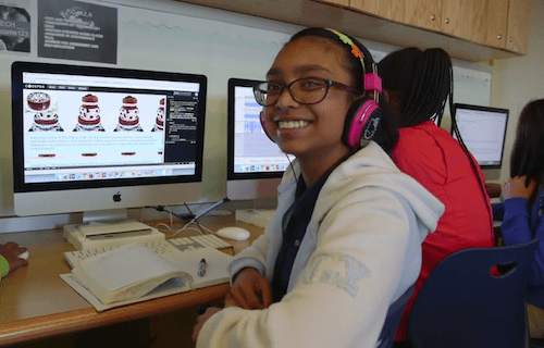 student using CodePen in a NYC school