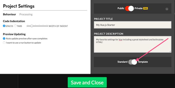 Creating a project template codepen blog any of your projects can be a template to make a project available as a template first click settings to open the project settings menu then slide the maxwellsz