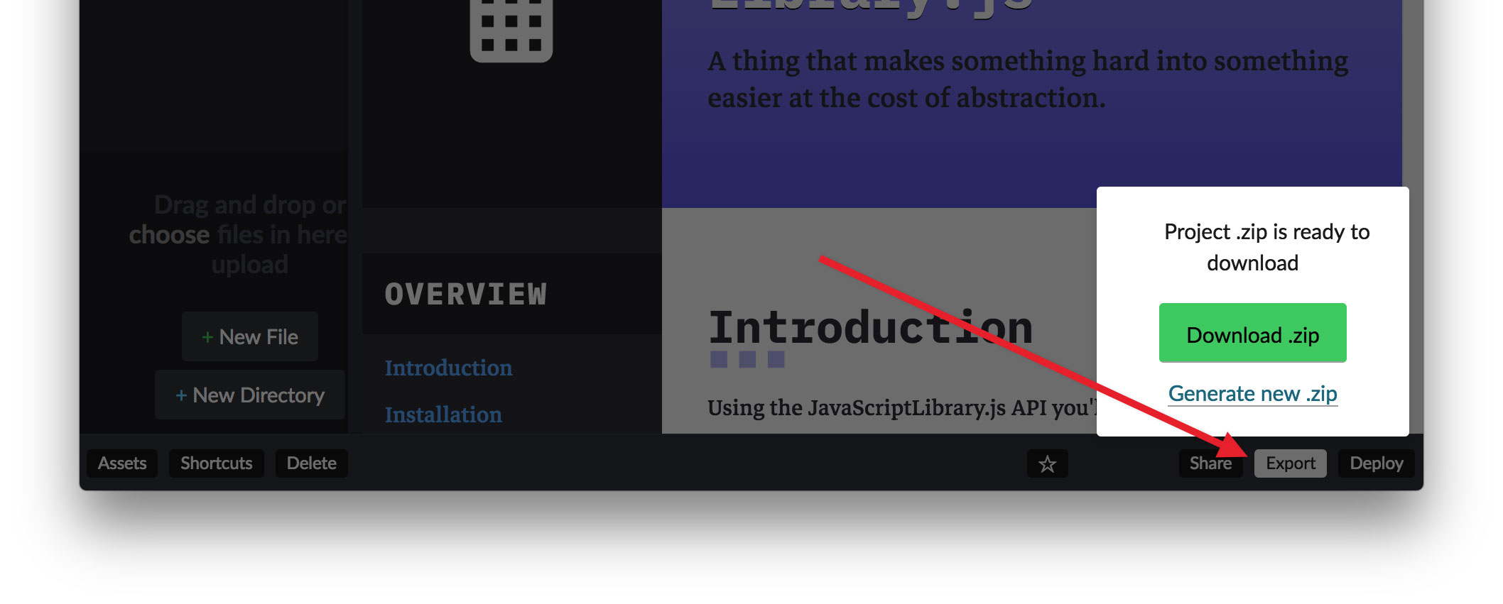 - export project - A Free Template for JavaScript Library Homepages