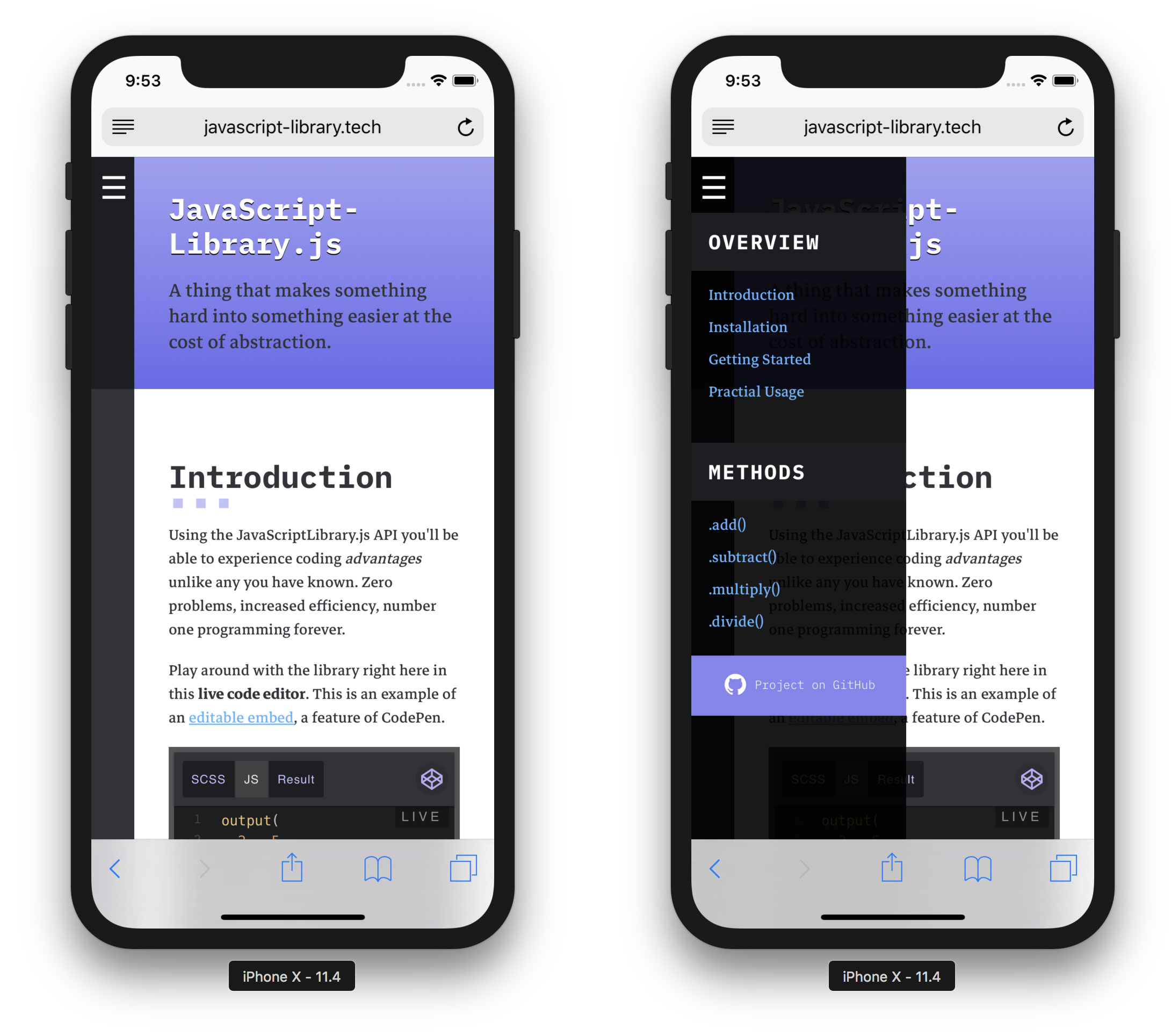 - mobile lib - A Free Template for JavaScript Library Homepages