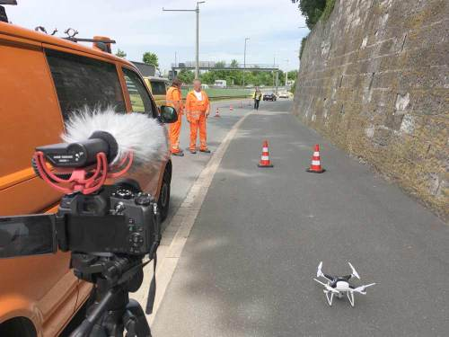 Infrastructure Deformation monitoring Traffic diversion and getting ready to start the drone