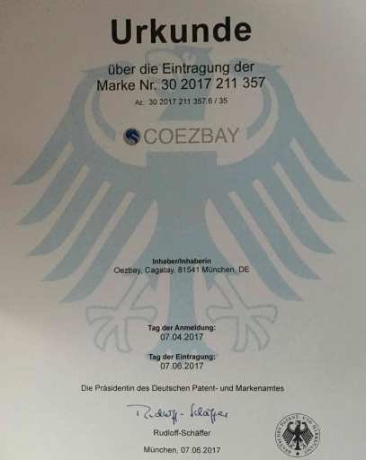 Certificate and patent of registration COEZBAY®