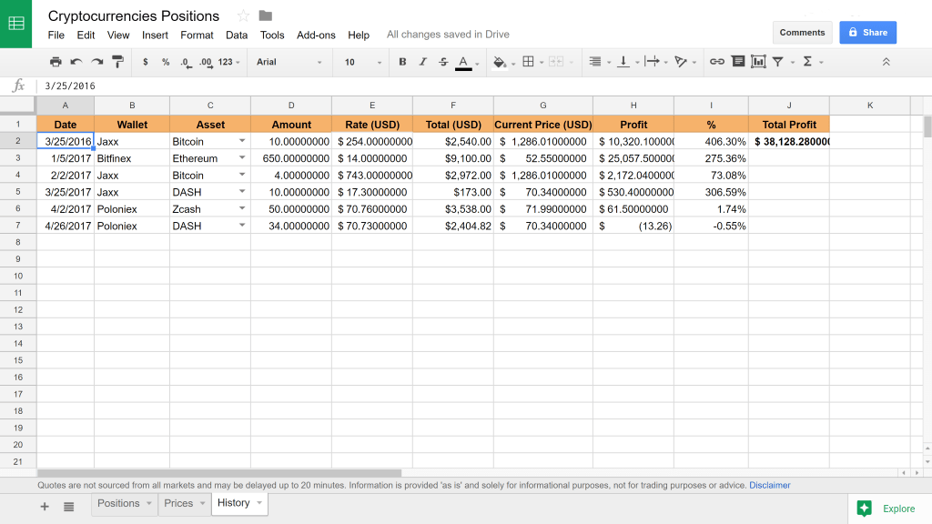 Cryptocurrency Investment Tracking Spreadsheet Live Update