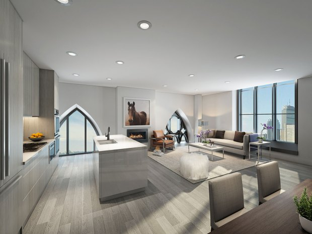 Living space of a unit in The Lucas in Boston.