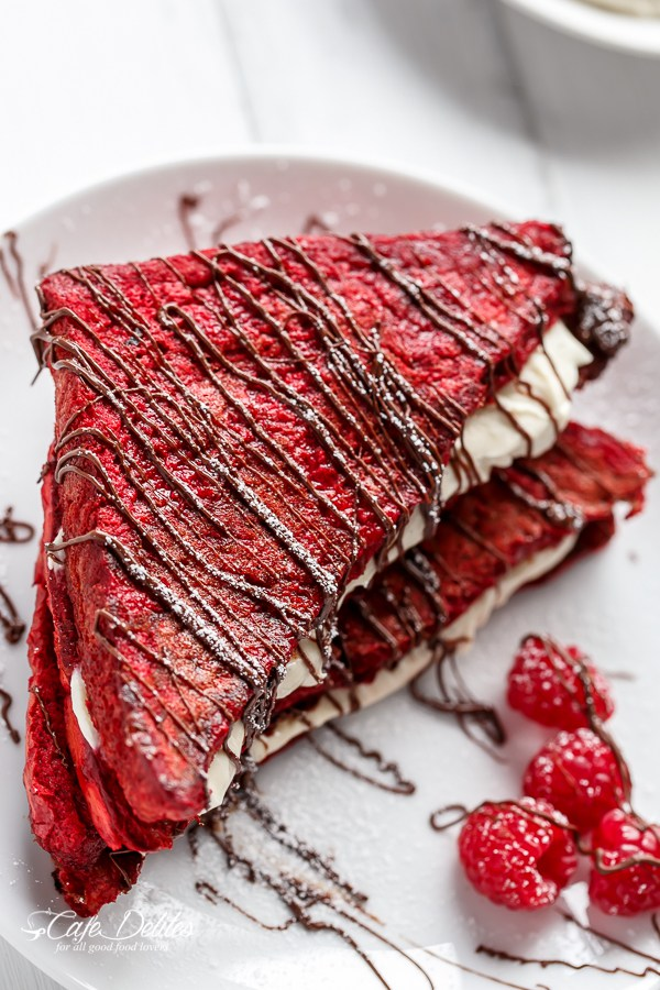 red velvet pancakes valentines day breakfast