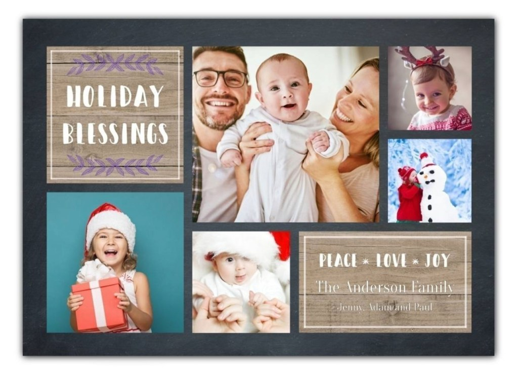 Holiday card with Holiday Blessings message and photos of couple with baby