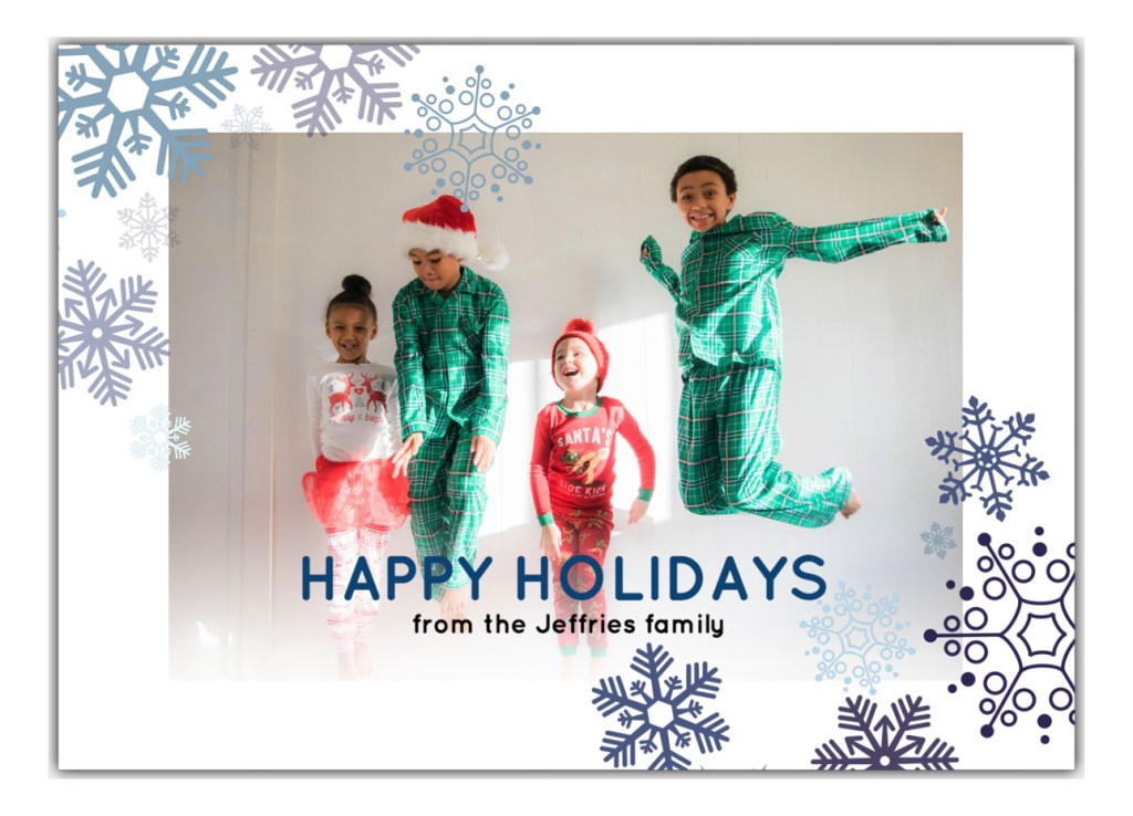 Happy Holidays card with snowflake illustrations and photo of 4 kids in Christmas pajamas