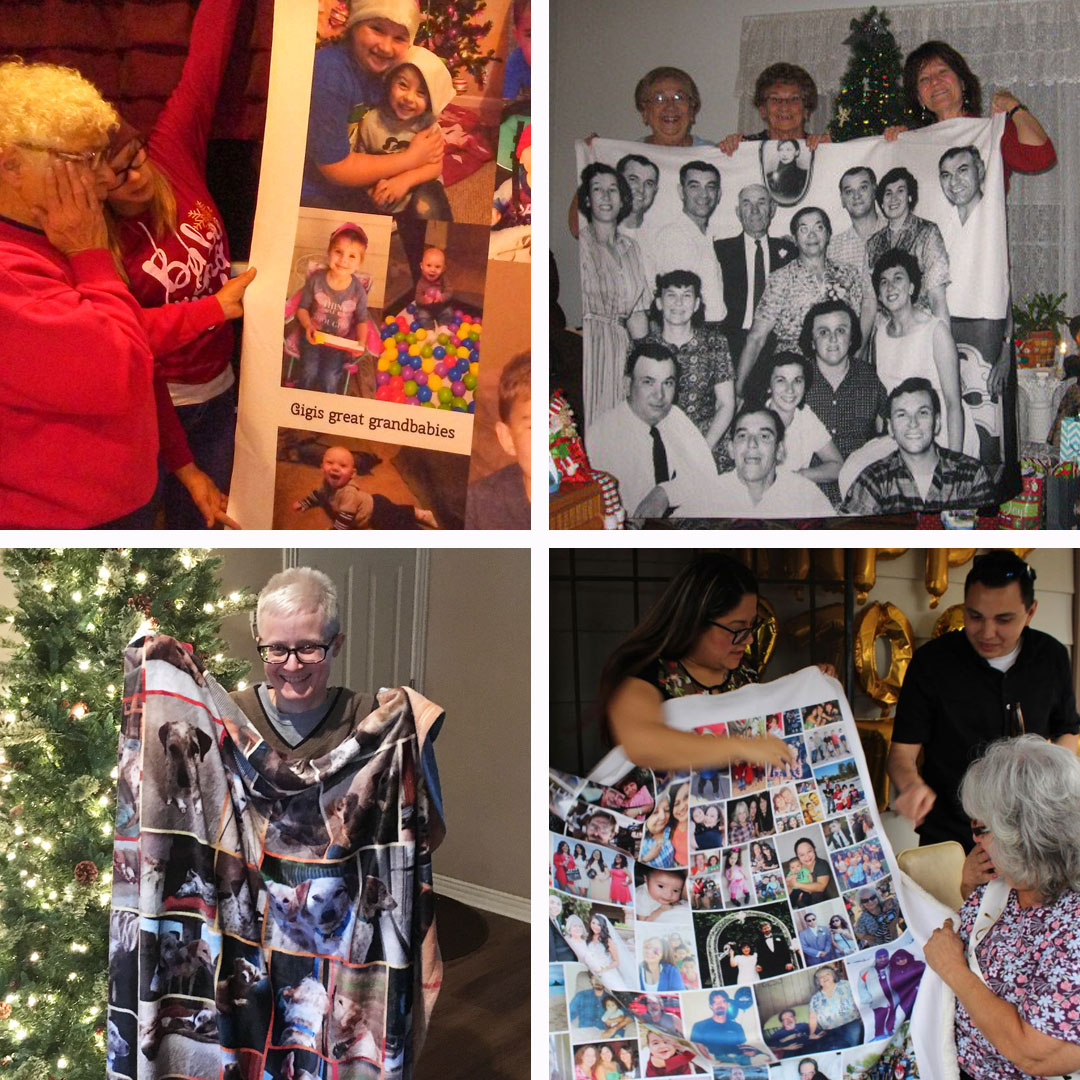 4 photos in grid of grandmothers holding up holiday photo blankets