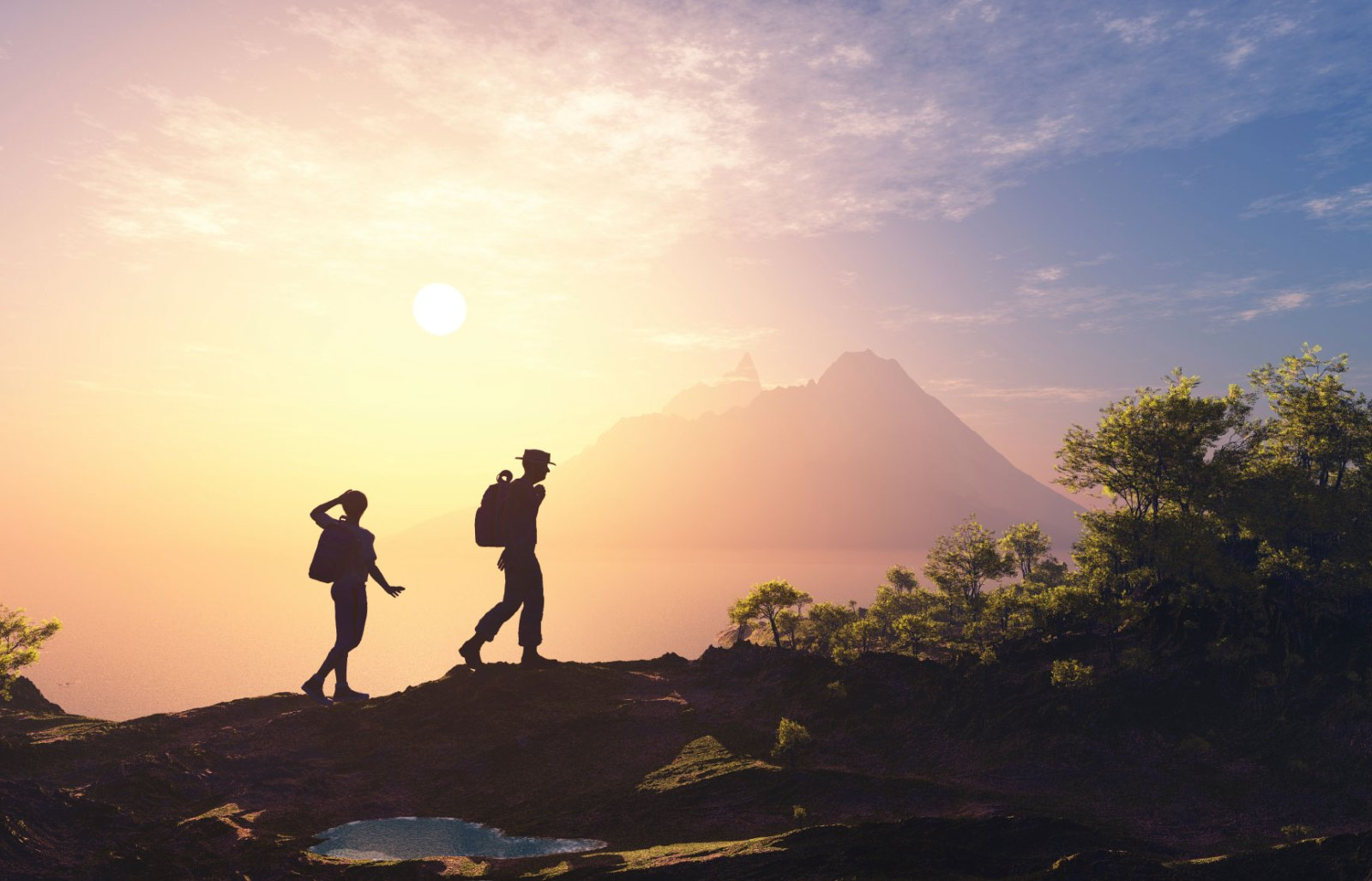 People in the mountains. Backpacking Travel Guide