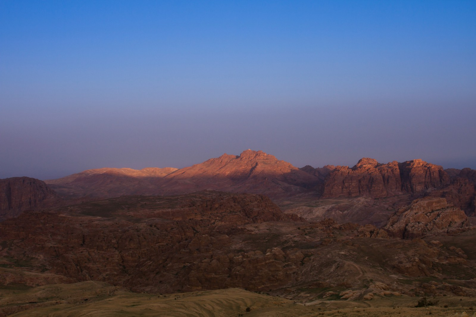 Sunrise over the Wadi Musa Mountains