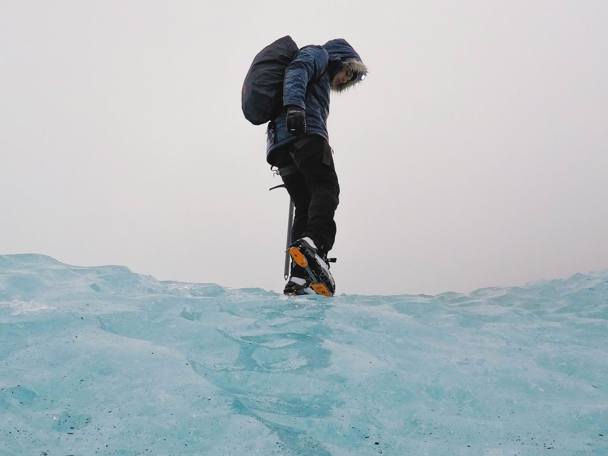 Mark Chase at blue ice caves