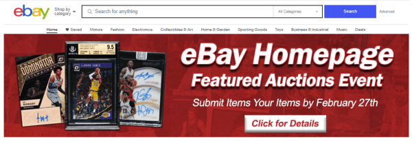 Ebay Homepage Featured Auctions Event March 9th 15th Comc Blog