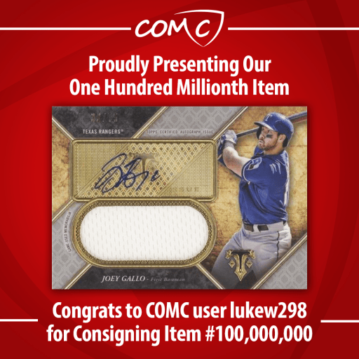 Proudly Presenting Our One Hundred Millionth Item. Congrats to COMC user lukew298 for Consigning Item #100,000,000.