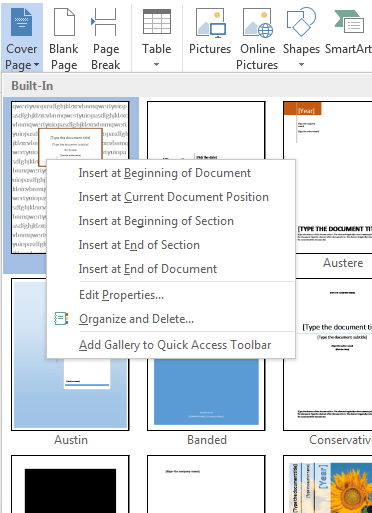How To Create A Title Page In Word : create, title, Create, Cover, Microsoft