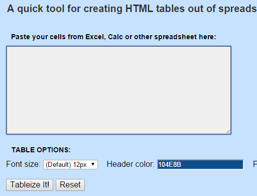 How to Convert Excel Spreadsheets into HTML tables