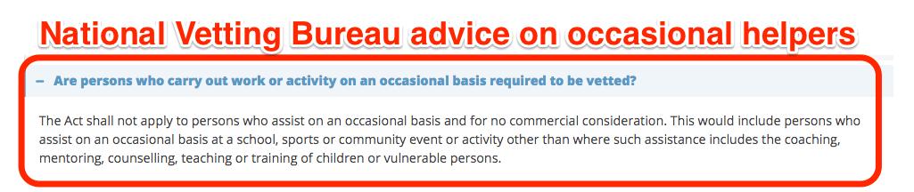 National Vetting Bureau advice on occasional helpers