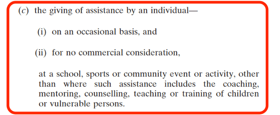 National Vetting Bureau (Children and Vulnerable Persons) Acts 2012 to 2016 - Assistance by an Individual