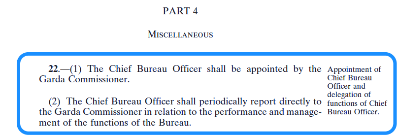 Chief Bureau Officer - vetting legislation - section 22