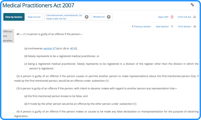 section 41 of the Medical Practitioners Act 2007.