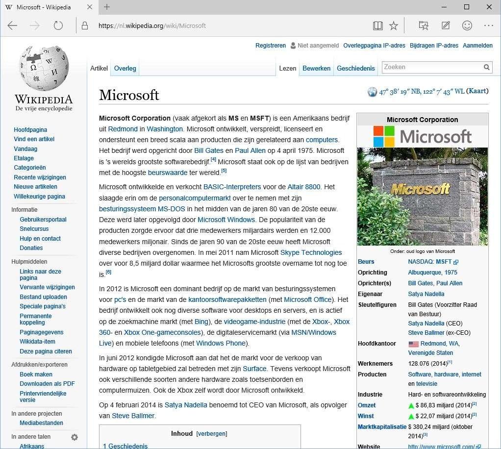 Een Wikipedia-pagina in standaardweergave.