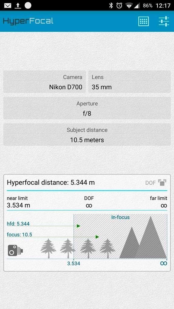 'HyperFocal' in Google Play., waarbij gekozen is voor een Nikon D700 met een 35mm-lens.
