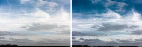 Een wolkenlucht zonder en met een polarisatiefilter gefotografeerd.